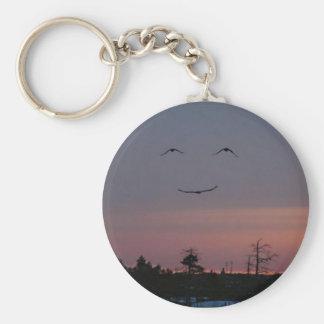 smile :) basic round button keychain