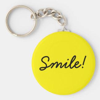 Smile! Basic Round Button Keychain