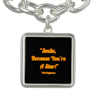 Smile, Because You're A Star Square Charm Bracelet