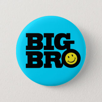 Smile Big Bro button badge in blue black & yellow