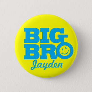 Smile Big Bro named button badge in blue & yellow