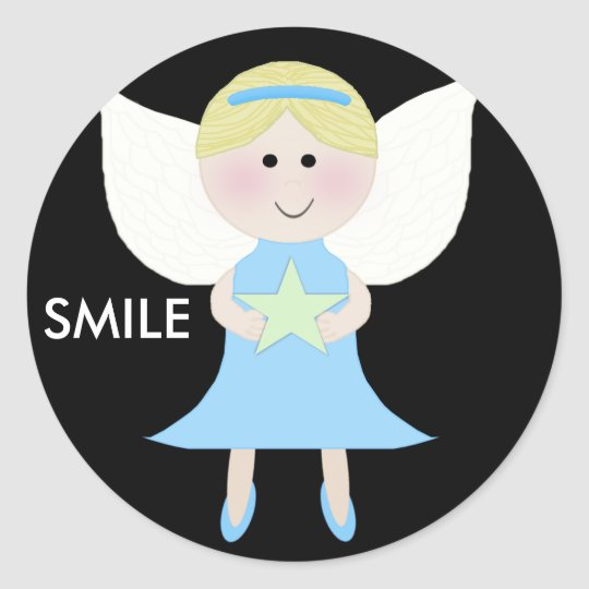smile blue angel classic round sticker