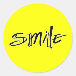 smile calligraphy classic round sticker