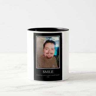 Smile demotivational poster Two-Tone coffee mug