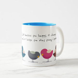 Smile Every Morning Cartoon Birds Cheerful Happy Two-Tone Coffee Mug