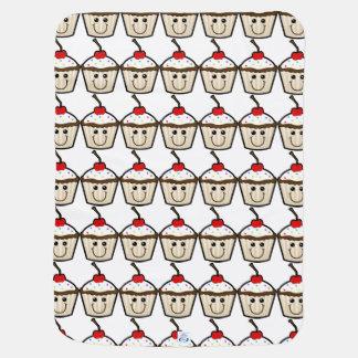 Smile Face Cupcake Stroller Blanket