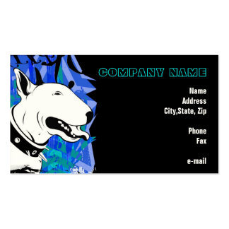 Smile for me! Blue Bull Terrier Illustrated Business Card Template