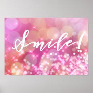 Smile! | Fun & Glamorous Pink Sparkles Poster