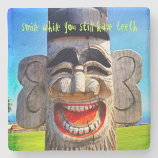 """Smile"" fun laughing wood face photo stone coaster"