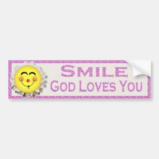 Smile God Loves You Bumper Sticker