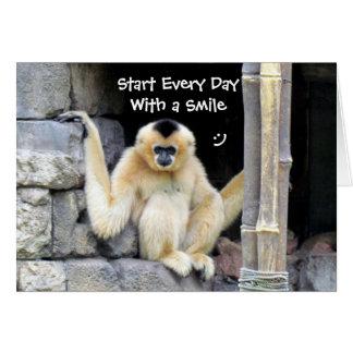 Smile Greeting Card - White Cheeked Gibbon