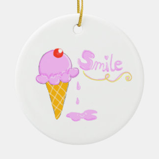 Smile Ice Cream Round Ceramic Ornament