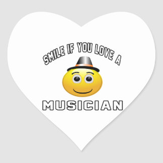smile if you love a Musician. Heart Sticker
