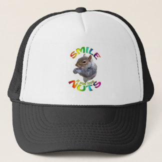smile if you love nuts rainbow trucker hat