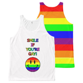 Smile if you're gay rainbow All-Over-Print tank top