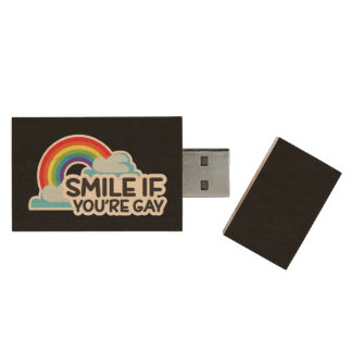 Smile If You're Gay Rainbow LGBT Pride Wood USB 3.0 Flash Drive