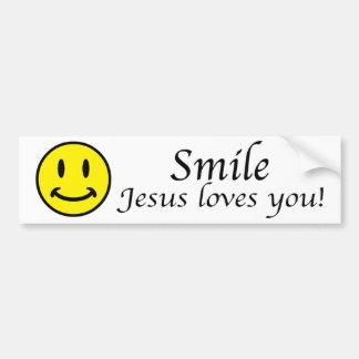 Smile, Jesus loves you bumper sticker