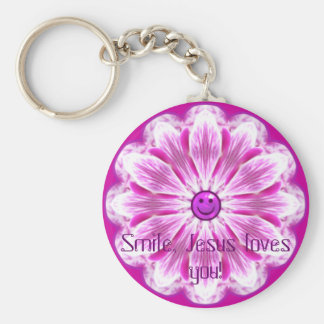 Smile, Jesus loves you! Keychain