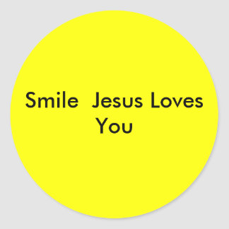 Smile  Jesus Loves You Round Sticker