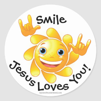 Smile Jesus Loves You Smiley Round Sticker