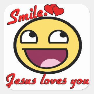 SMILE JESUS LOVES YOU SQUARE STICKER