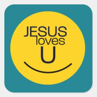 Smile...Jesus Loves You Square Sticker