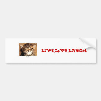 smile kitty, Live,Love,Laugh Bumper Sticker
