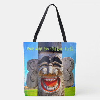 """Smile"" laughing wooden character photo tote bag"