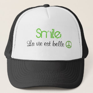 Smile Life is beautiful. Peace. Trucker Hat