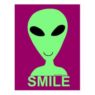 Smile Little Green Man Art Postcard