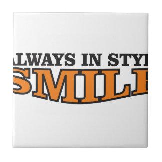 smile logo fun ceramic tile