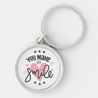 Smile Love Note  Pink Hearts Wedding Bridal Quote Keychain