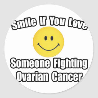 Smile...Love Someone Fighting Ovarian Cancer Classic Round Sticker