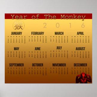 Smile Monkey Year Calendar Poster 2016