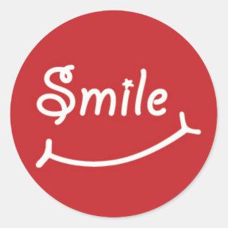 Smile on Red Round Sticker