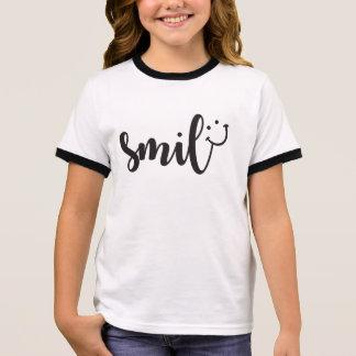 Smile Panda Girl's Ringer T-Shirt