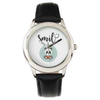 Smile Panda Stainless Steel Kids Watch - Black