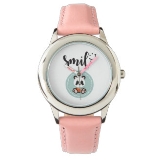 Smile Panda Stainless Steel Kids Watch - Pink
