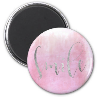 Smile Pink Rose Silver Gray Ombre Encouragement Magnet