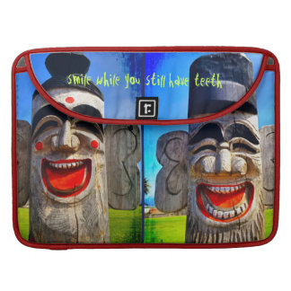 """Smile"" Quote Fun Laughing Teeth Wood Face Photo Sleeve For MacBooks"