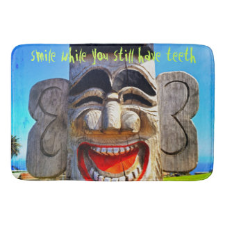 """""""Smile"""" Quote Fun Silly Laughing Teeth Face Photo Bath Mat"""