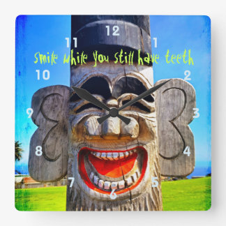 """Smile"" Quote Fun Silly Laughing Teeth Face Photo Square Wall Clock"