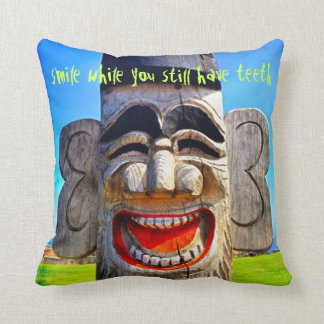 """Smile"" Quote Fun Silly Laughing Teeth Face Photo Throw Pillow"