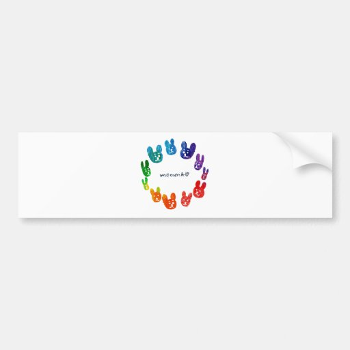 smile rabbits circle rainbow bumper sticker