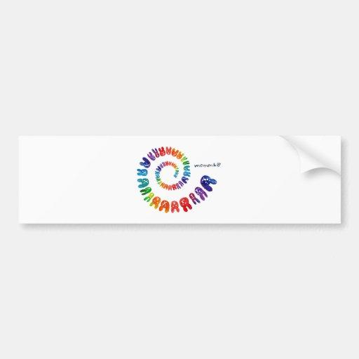 smile rabbits spiral rainbow bumper sticker
