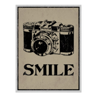 Smile: Retro Camera Art Poster