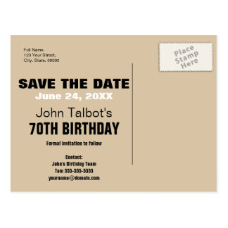 Smile Save the Date 70th Birthday Postcard