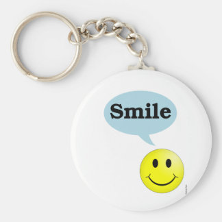 Smile-Smiley Face Basic Round Button Keychain