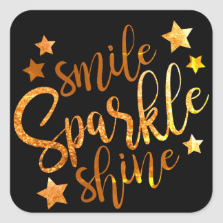 Smile Sparkle Shine Black Gold Stickers Labels