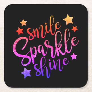 Smile Sparkle Shine Black Inspirational Quote Square Paper Coaster